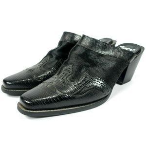 Tony Lama Black Leather Calf Pony Hair Mules Clogs